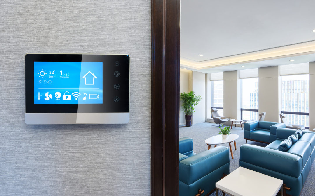 Smart thermostat in a modern living room