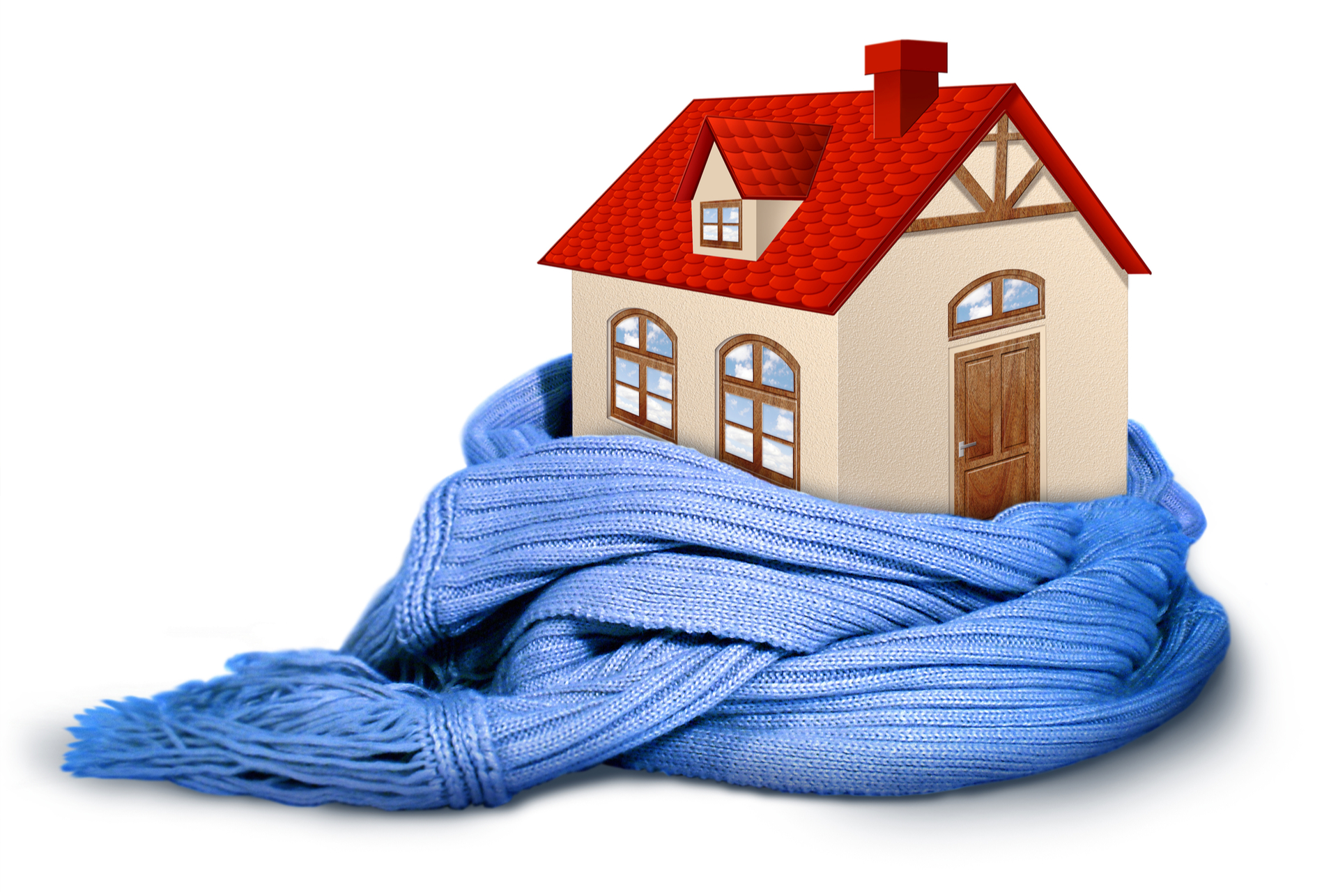 A house kept warm by good insulation.
